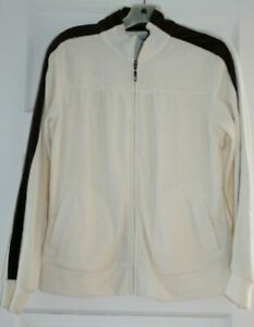 SJB  Jacket Active wear Full Zip Pockets Petite MM Cream and Brown Color