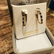 14k gold hoop earrings w/ Diamonds and Sapphire Vintage