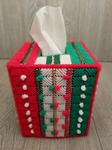 Vintage Hand Made Yarn Tissue Cover Box Red Green White Holiday Christmas