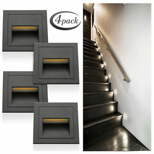 4Pcs Outdoor LED Wall Plinth Recessed Stair Step Hall Lamp Corner Lights IP65