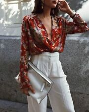 ZARA RED FLORAL BODYSUIT TOP BLOUSE REF. 8172/989 SIZE S SMALL UK 8