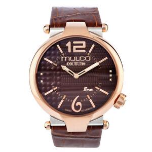 Mulco Men's Swiss Quartz Watch MW5-3183-033 Brown Genuine Leather Strap