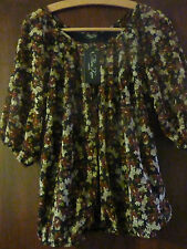 BROWN FLORAL MIX TOP - MARINA KANEVA - NEW WITH TAGS - SIZE 14