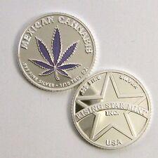 1/10th Troy Oz Pure .999 solid silver Mexican Purple Leaf Cannabis Coin bar