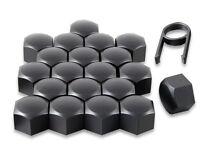 Set 20 17mm Black Car Caps Bolts Covers Wheel Nuts For Citroen C1 C2 C3