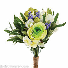 Artificial Rose Lavender Freesia Hellebore Spring Bunch White and Green