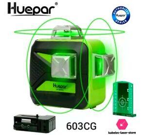 Niveau Laser 3d Huepar 603cg 3×360 3d  Vert batterie pile secteur