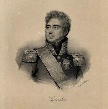 Portrait de Jacques Alexandre Law de Lauriston Lithographie originale XIXème