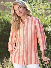 NORM THOMPSON Peach NEW Blouse Sunset Stripe Tunic Sparkle Light Top Cover Sz XL