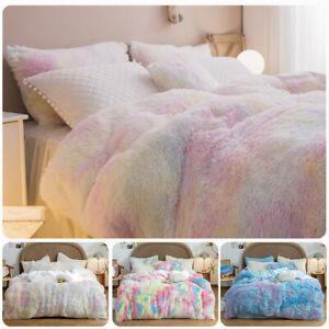 Tie-dye Rainbow Shaggy Furry Duvet Cover Set Plush Bedding Set Winter Soft Warm