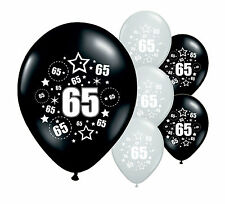 """30 x 65TH BIRTHDAY BLACK AND SILVER 12"""" HELIUM OR AIRFILL BALLOONS (PA)"""