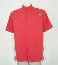 Columbia PFG Fishing Vented Red Tamiami II Button Shirt Mens Large