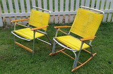 Pair Vintage TELESCOPE Sunburst Yellow Folding Aluminum, PVC Tube & Wood Chairs