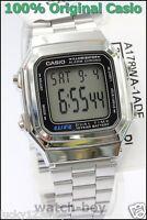 A178WA-1A Genuine Casio Watch Silver Stainless Steel Band E-Data-Bank A-178WA