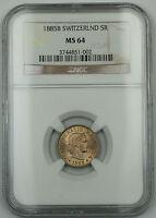 1885-B Switzerland Swiss 5 Rappen Coin *Gem BU* NGC MS-64 Faint Spotting