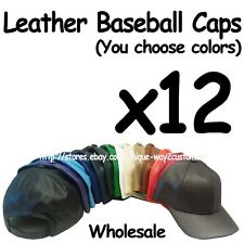 WHOLESALE LOT OF 12 Plain Leather Baseball Cap Hat Genuine Leather MADE IN USA