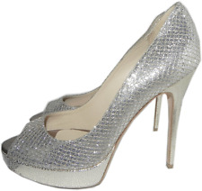 "Jimmy Choo 'crown"" Glitter Champagne Platform Pump Peep Toe Heels 40.5 Shoe 10"