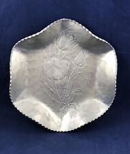 Vintage Rodney Kent Silver Co Aluminum Hand Wrought  Candy Dish - Tulips