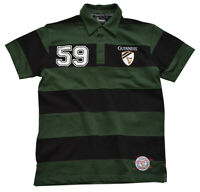 Mens Polo Green and Black Striped Guinness 59 Short Sleeve