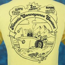 NOS vintage 80s COORS BEER KBCO COLORADO KINETIC CARTOON POLO T-Shirt S