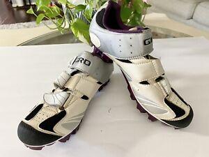 Giro Manta Womens Cycling Mountain Bike Shoes Size 8.25 US White/Purple