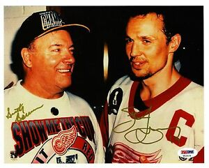 Steve Yzerman & Scotty Bowman-Red Wings reprinted autographed 8 x 10 photo