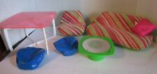 Vintage Barbie Lot 7 Pieces 1970s Mod Furniture Couch, Chair, Bean Bags, Table