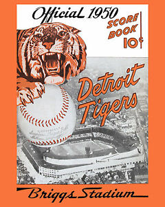 Detroit Tigers Poster of 1950 Score Card - 8x10 Color Photo