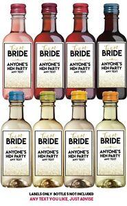 8 PERSONALISED Mini Wine Bottle Label Thank You Gift Wedding Bridesmaid Hen Do