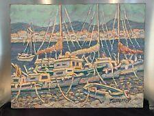 Grande HUILE SUR PANNEAU Marine, Le Port de St Cyr/mer , signée Mario PASSARELLI