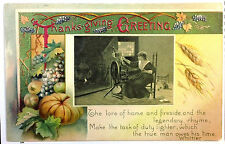 Early 1900's Thanksgiving Postcard Young Woman W/ Spinning Wheel