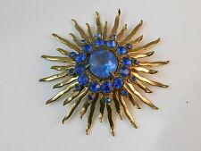 Vintage Sapphire Blue Glass Rhinestone Sunburst Large Gold Brooch Pin 12g 47