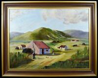 Original Naive Irish Art Painting Donegal Cottages Signed c1970