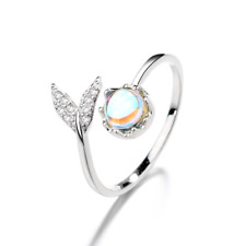 925 Sterling Silver Mermaid Tail CZ OPAL STONE Adjustable Band Ring Gift Box