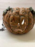 "Halloween Hanging Ceramic Pumpkin Tealight Votive Candle Holder 6"""