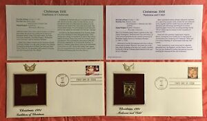 2 USA 22k Gold Foil FDCs FIRST DAY Of Issue CHRISTMAS Santa & Madonna 1991