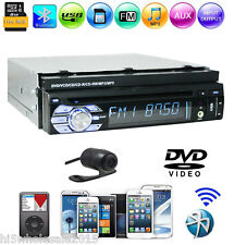 "1 Din 7"" Retractable Touchscreen GPS Car Stereo DVD Player Radio USB/SD iPod+CAM"