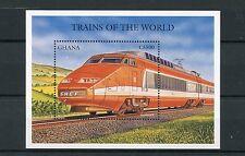 Ghana 1998 MNH Trains 1v S/S II TGV France Chemin de Fer