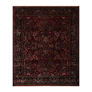 "8'1"" x 911"" Hand Knotted 100% Wool Sarouk 250 KPSI Oriental Area Rug Burgundy"