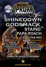 "Shinedown ""Uproar Festival"" 2012 Usa Concert Tour Poster- Hard Rock, Heavy Metal"