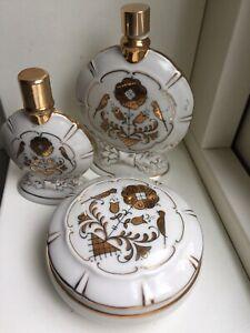 RIGA Porcelain Factory Kuznetzov Branch VTG Vanity SET:2 Perfume flacons trinket