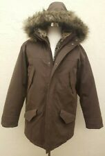 Eddie Bauer Mens Large Brown Premium  Goose Down Coat 650 Fill jacket Winter Fur