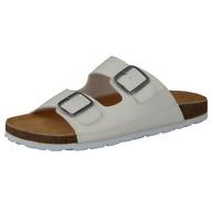 CAMPRELLA Sandalen Herren Comfort Tieffußbett Pantoletten 2-Schnaller Ziernähten