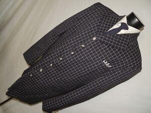 Raspinni Uomo men's Blue plaid 100% virgin wool Zoot suit jacket 46 Long