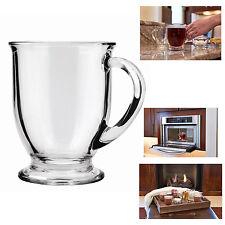 Coffee Mug Clear Glass Set Of 6 Tea Chocolate Cups 16 Oz Cafe Decor Teacup New