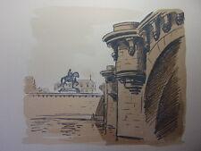 56/  AQUARELLE PARIS / Le pont Neuf et statut d'Henry IV