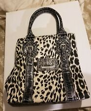 Guess white canvas animal print handbag with crocodile embossed patent leather