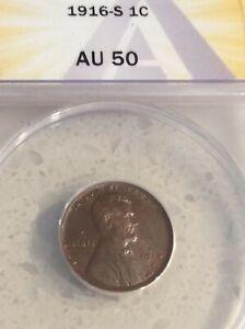 1916 S 1c Lincoln Wheat Cent ANACS AU 50