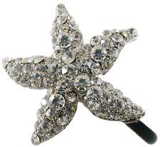 Magnet Hair Clip use Swarovski Crystal Hairpin Starfish Seastar Mermaid Silver
