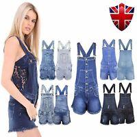 New Ladies Womens Denim Dungarees Playsuit Jumpsuit MINI Short Dress Jeans 8-18